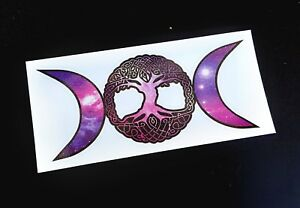 Precut Wiccan Triple Moon Tree Of Life Sticker / Decal Pagan Druid Celtic Witch
