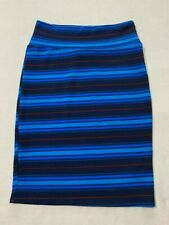 Lularoe S Blue Navy Red Stripe Cassie Skirt Womens Small Stretch