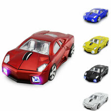 USB CAR MOUSE LED LIGHT SPORTS CAR SCROLL WHEEL WIRELESS OPTICAL FOR PC Mac Red