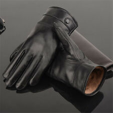 Men's  Winter Classic Genuine Leather Gloves Lambskin Mittens Driving Black KU