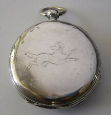 Silver Pocket Watch Swiss Cylinder Working Hunting Dog Reloj de Plata Funciona