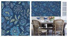 Fine Decor Solstice Floral Navy Blue Green Wallpaper, FD24112
