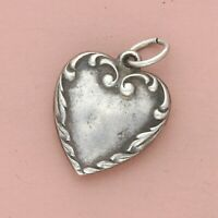 vintage sterling silver wwii engraved sweetheart puffy heart charm