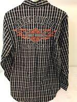 NEW Harley Davidson Shirt Gray Black Plaids Mens Size S Long Sleeve Button Down