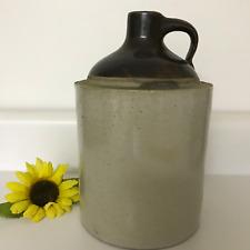 "Antique Vtg Stoneware Whiskey Jug Crock Primitive Moonshine 8 1/2"" Farmhouse Art"
