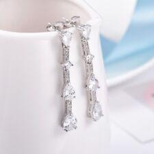 Antique Women Silver Tone Swarovski Beaded Crystal Dangle Stud Wedding Earrings