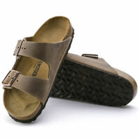 Birkenstock Mens Arizona Tobacco Brown Two Straps Wide Nubuck Sandals 0352201