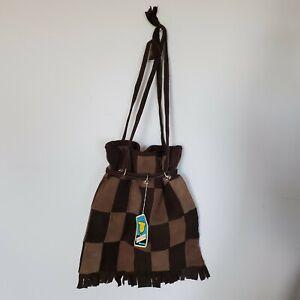 Vintage NWT NOS Boho Brown Suede Patchwork Drawstring Purse