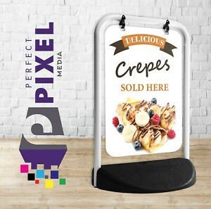 Crepes Sold Here Swinging Pavement Sign Outdoor Display Shop