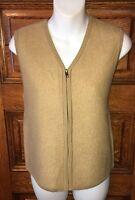 CRYSTAL-KOBE Gorgeous Camel Tan Boiled 100% WOOL Full Zip Sweater VEST, Size M