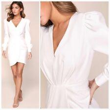 Lipsy White V Neck Tux Dress Women Full sleeves Mini Party Evening Dress