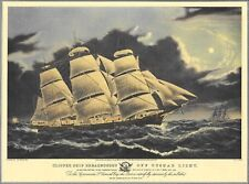 """Published By N. Currier """"Clipper Ship Dreadnought Off Tuskar Light"""", Print 1940s"""