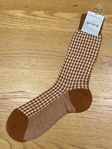 Pantherella Houndstooth Rust Mid Calf Wool Blend Socks Men Sz Medium 8.5-11