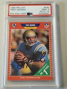 1989 Pro Set Troy Aikman ROOKIE Autograph PSA/DNA Graded Card Gem Mint 9/10