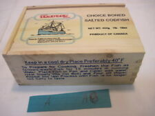 A OLD WOOD TRAWLER CHOICE BONED SALTED FISH CRATE BOX