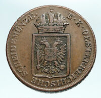 1848 Austria Emperor FERDINAND I Eagle Antique OLD Genuine 2 Kreuzer Coin i84105