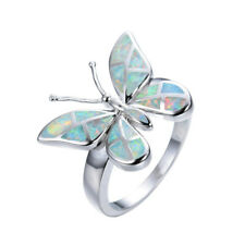 Elegance Personality butterfly Charm 925 Silver Jewelry Wedding Opal Ring size 8