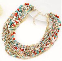 Fashion Vintage Boho Chain Statement Choker Women Charm Necklace Bead Bib Collar