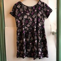 AMERICAN EAGLE Purple Floral Short Sleeve Babydoll Tunic Dress OS One Size Small
