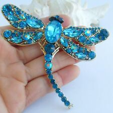 "3.74"" Pretty Lake Blue Rhinestone Crystal Dragonfly Brooch Pin Pendant 05684C8"