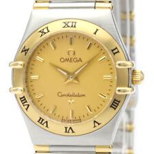 Polished OMEGA Constellation 18K Gold Steel Quartz Ladies Watch 1372.10 BF517431