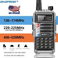 BaoFeng UV-S9 Tri-Band Radio VHF,1.25M,220 Antenna,UHF, Two Way Radio Silver US