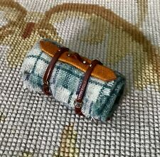 Pat Tyler Dollhouse Miniature Leather Strap Plaid Wool Blanket Bed Roll p353a