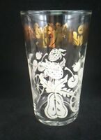 Vintage Federal 10 oz clear glasses orange cherry strawberry gold leaves 4 ct