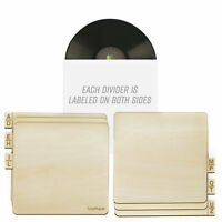"TunePhonik Two-Sided Laser Cut Wooden Record Dividers to Organize 12"" Vinyl LPs"