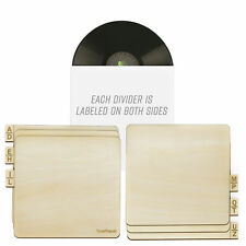"""TunePhonik Two-Sided Laser Cut Wooden Record Dividers to Organize 12"""" Vinyl LPs"""