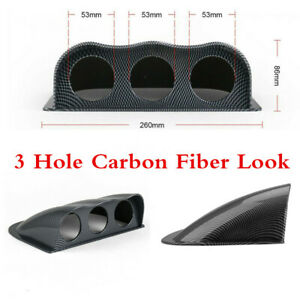 Brand New Carbon Fiber Look 2In 52mm Car Three Hole Meter Dashboard Mount Holder