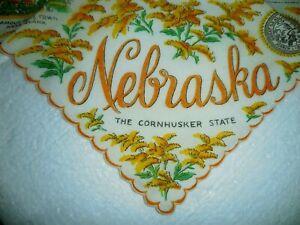 Vintage Designer Handkerchief Nebraska Souvenir Franshaw