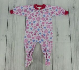 Baby Girls Footed Sleeper Pajamas Sz 6-12 Months Pink White Multi Hearts