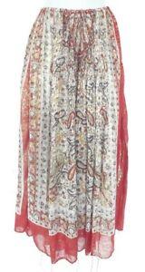 Ladies Vintage lurex thread skirt midi knee Size M boho paisley indian print