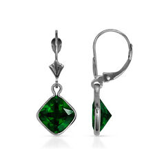 Square Bezel Emerald Birhtstone Drop Dangle Leverback Earrings 14K White Gold