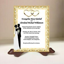 Personalized Wedding Invitations Cards Bride and Groom Gold Hearts White Lace