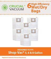 6 REPL ShopVac Type H Bags Fit 5 - 8 Gallon Wet & Dry Vacs Part # SV-9066100