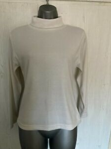 LADIES JEANS & CO OFF WHITE POLYESTER/COTTON THIN POLO NECK JUMPER - SIZE 12