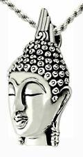 3D Semi Antiguo 0.925 Plata de Ley Cabeza de Buda Collar con Colgante Budista