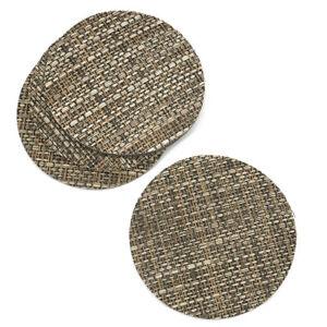 Mixed Brown Rattan Effect Coaster Set of 4 Vinyl Mats Outdoor Indoor Weave Woven