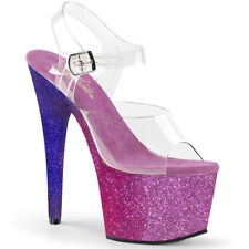 "7"" Pink Purple Ombre Glitter Platform Stripper Heels Pleaser Shoes size 9 10 11"