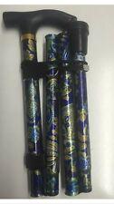 New Latest Lightweight Folding & Extenable Walking Stick Blue Gold Flower