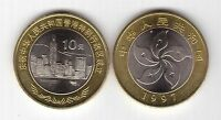 CHINA - BIMETAL 10 YUAN UNC COIN 1997 YEAR KM#982 RETURN OF HONG KONG