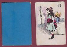 Carte à jouer ancienne XIXe - 301113 - 12 fillette bouquet fleurs