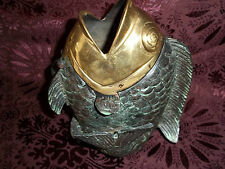 Unique Stunning Cast Bronze and Verde ( NOT Resin)  Statuary of  Fish with Brass