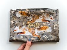 Personalised Velvet Pouch Leaping Fox Printed Make up Bag Handbag
