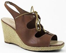 Anne Klein AK Women's Orria Wedge Sandals Natural Brown Leather Size 10 (B, M)