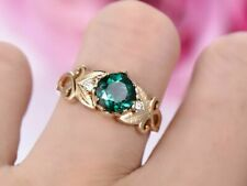 2.10Ct Round Cut Green Emerald Solitaire Engagement Ring 14K Yellow Gold Finish