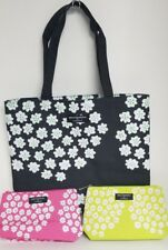 Clinque Large Black Flowered Marimekko Tote Green/Pink Cosmetic Case 3PC NEW