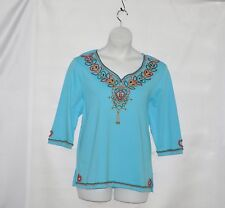 Quacker Factory Wooden Heart Knit Tunic Size S Turquoise